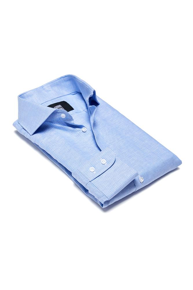 Pilot (BC/CL) Shirt - Lt Blue Micro Stripe Cotton Linen