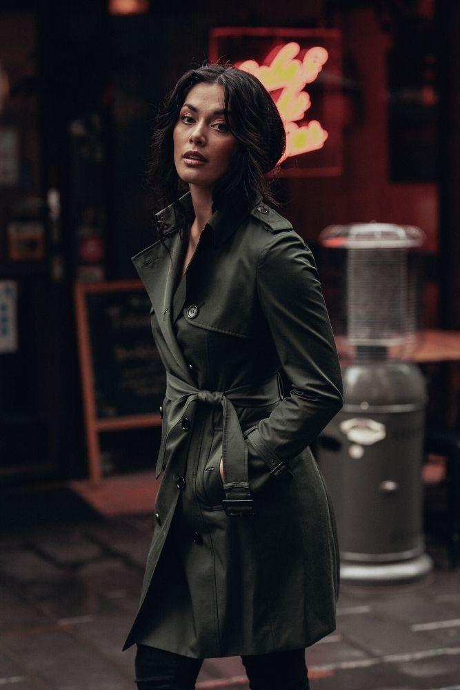 Martina (Mid) Trench Coat - Tech Olive