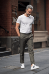 Roma Trouser - Olive Cotton