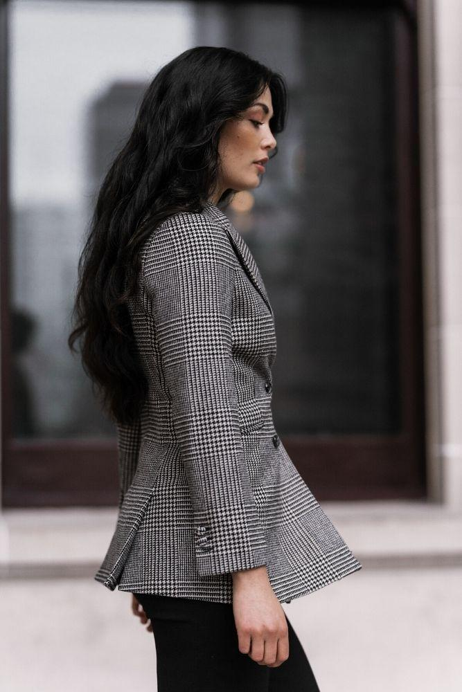 Luna Jacket - Black White Check
