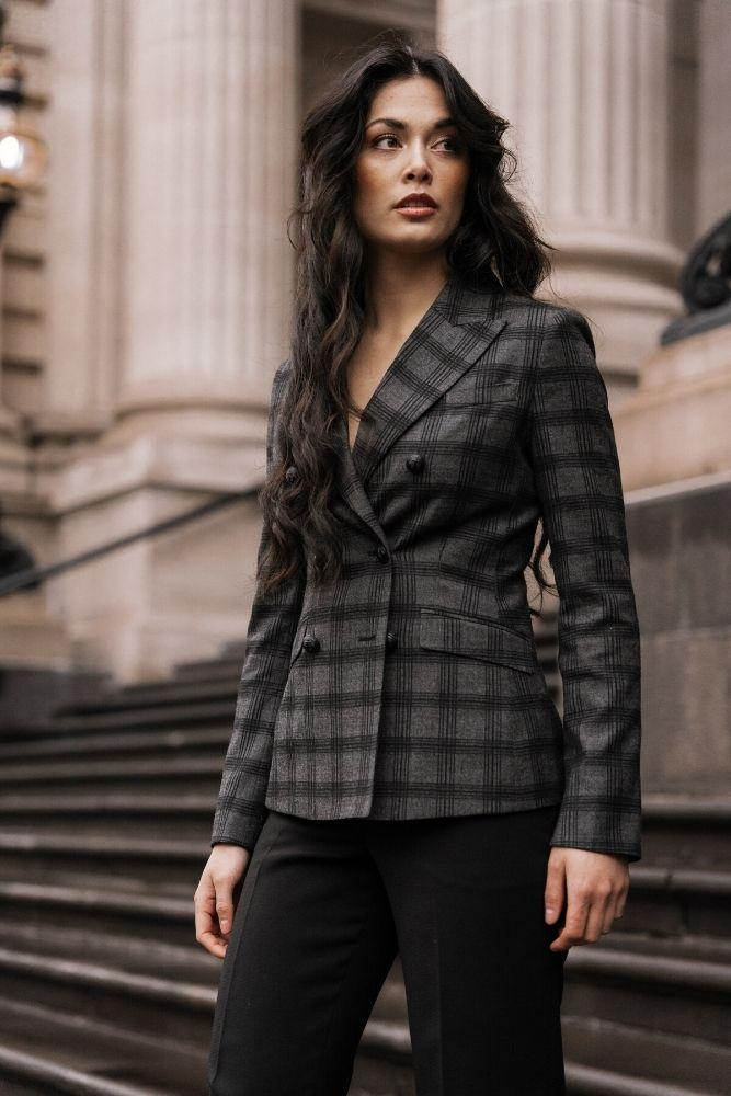 Thea Jacket - Charcoal Black Check