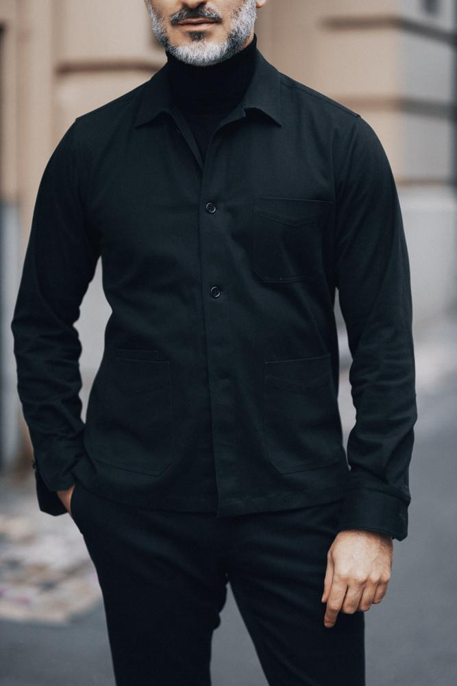 Ethan Overshirt - Black Cotton Drill