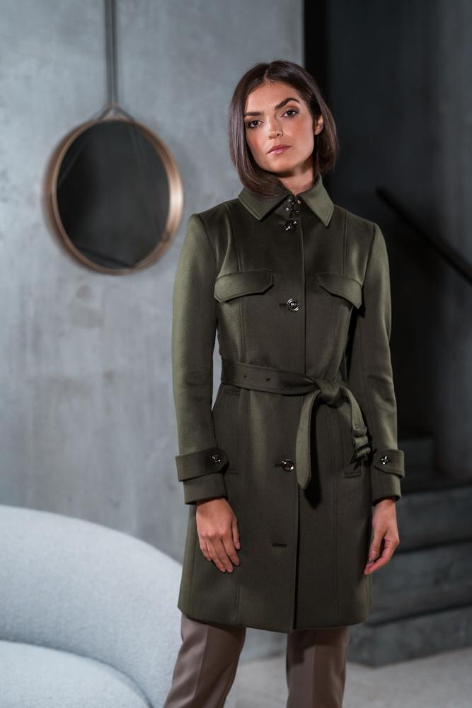 Grace Trench Coat - Olive Wool Silk