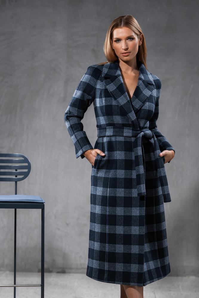 Madison (Long) Wrap Coat - Navy and White Check Wool
