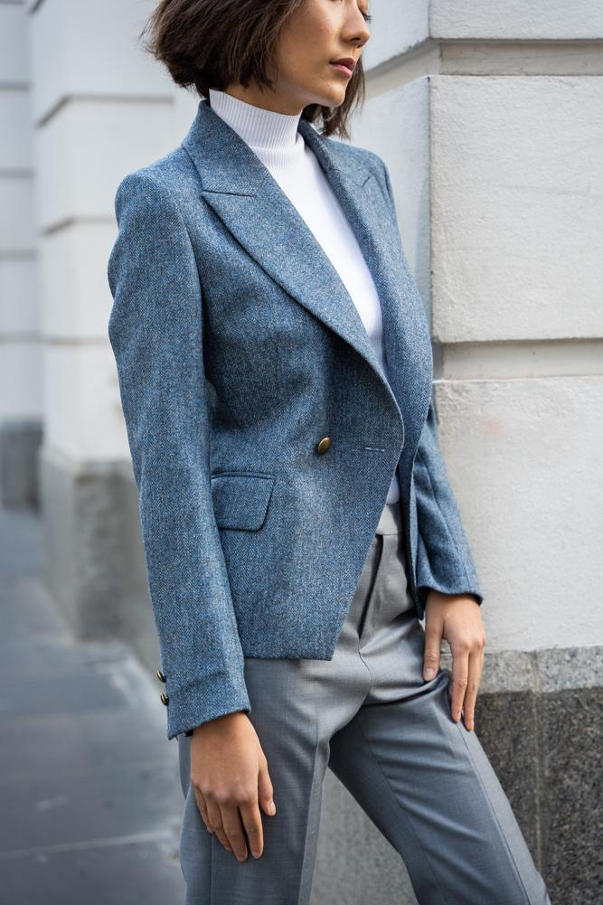 Ariana Jacket - Light Blue Tweed