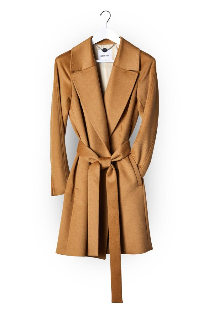 Madison (Mid) Wrap Coat - Camel Wool Cashmere