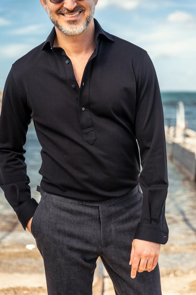 Alessio Long Sleeve Polo Top - Black Cotton Pique