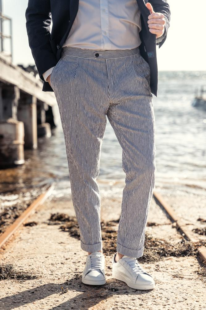 Roma Trouser - Navy and White Seersucker