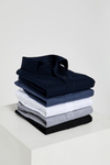 Alessio Long Sleeve Polo Top - Navy Cotton Pique