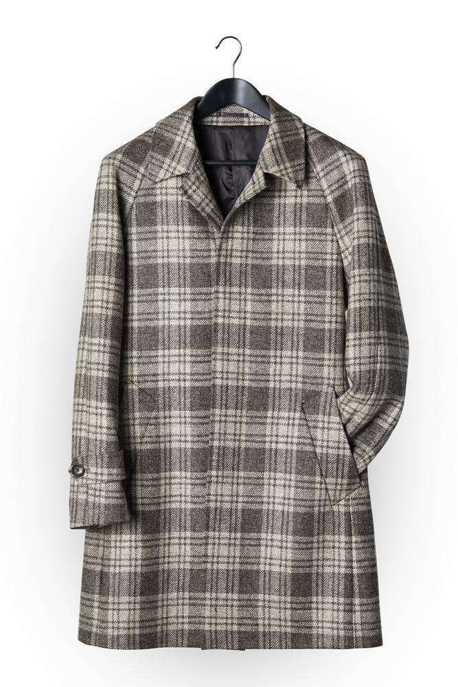 Hudson Coat - Mid Grey and Silver Tartan Wool