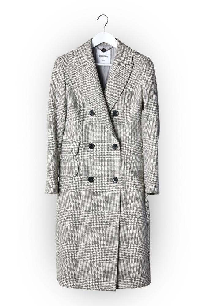 Sofia Coat - Silver White Check