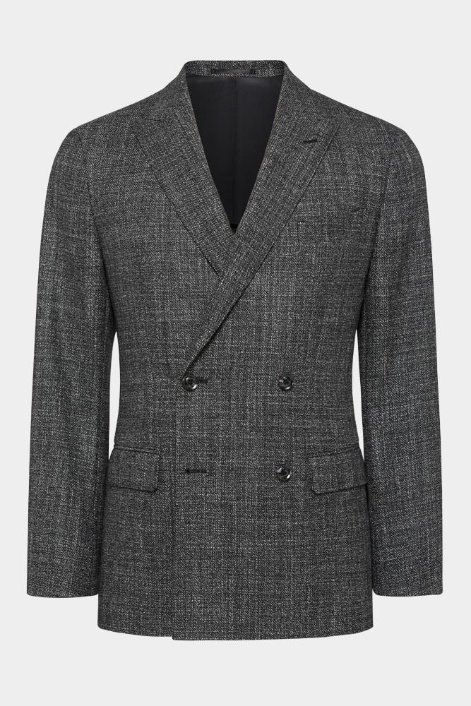 Kent DB Jacket - Black White Tweed