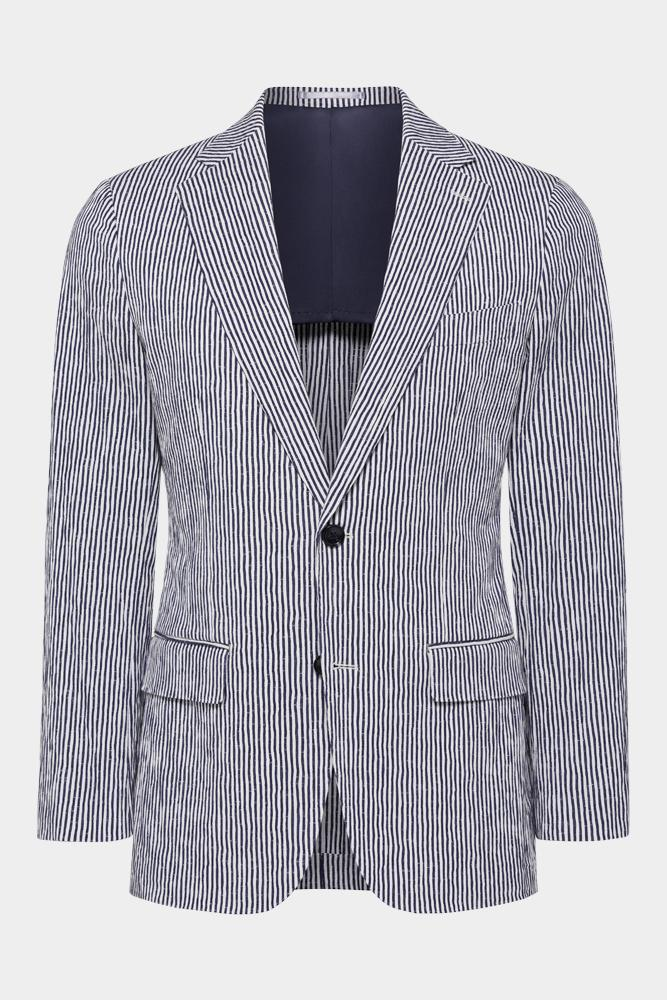 Wilhelm Sports Jacket - Navy White Stripe