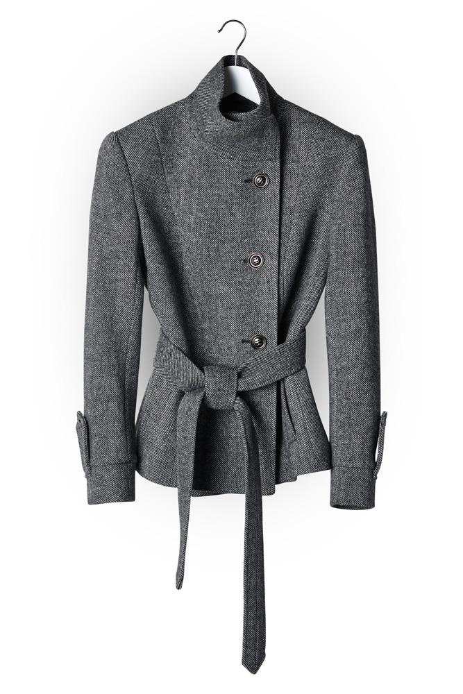 Tayla (Short) Coat - Grey Wide Herringbone Wool