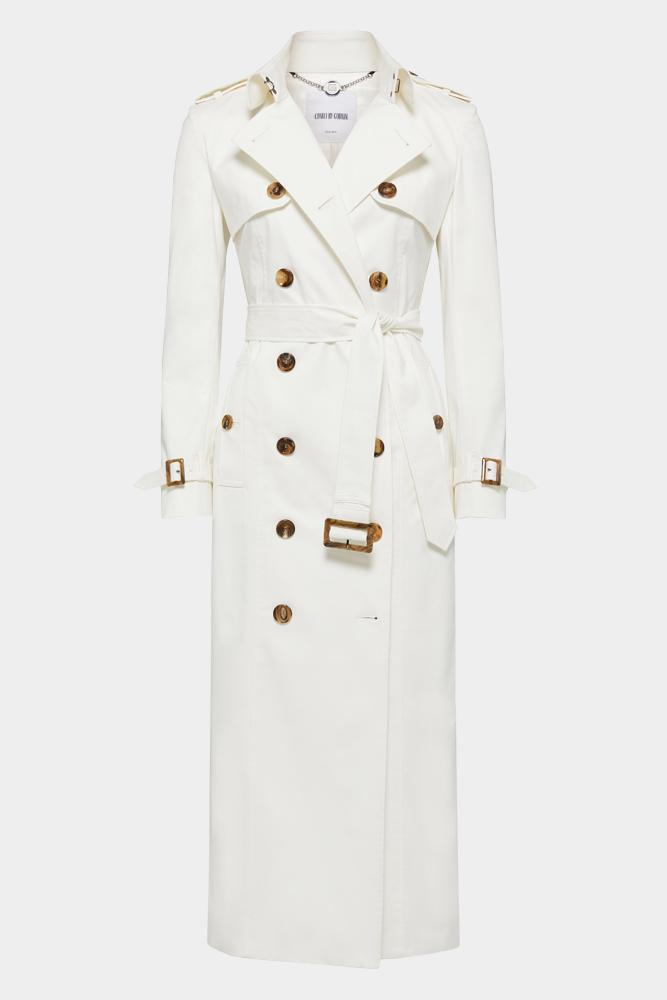 Martina (Long) Trench Coat - White Cotton