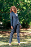 Camila Suit - Blue Green Herringbone Wool Cashmere