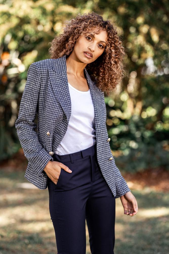 Ariana 4 Jacket - Navy and Lt Blue Houndstooth Silk Wool