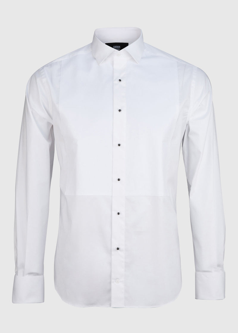 Bastien Dinner Shirt - Pique White Stretch