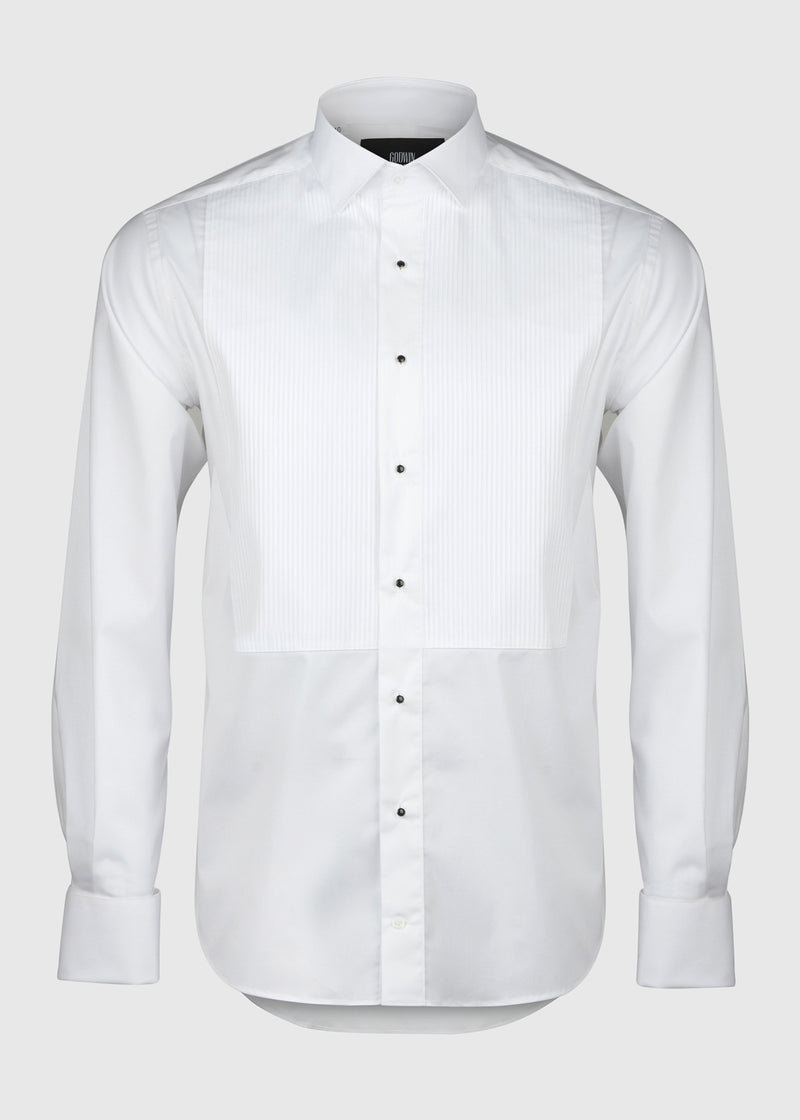 Bastien Dinner Shirt - Pleated White Stretch