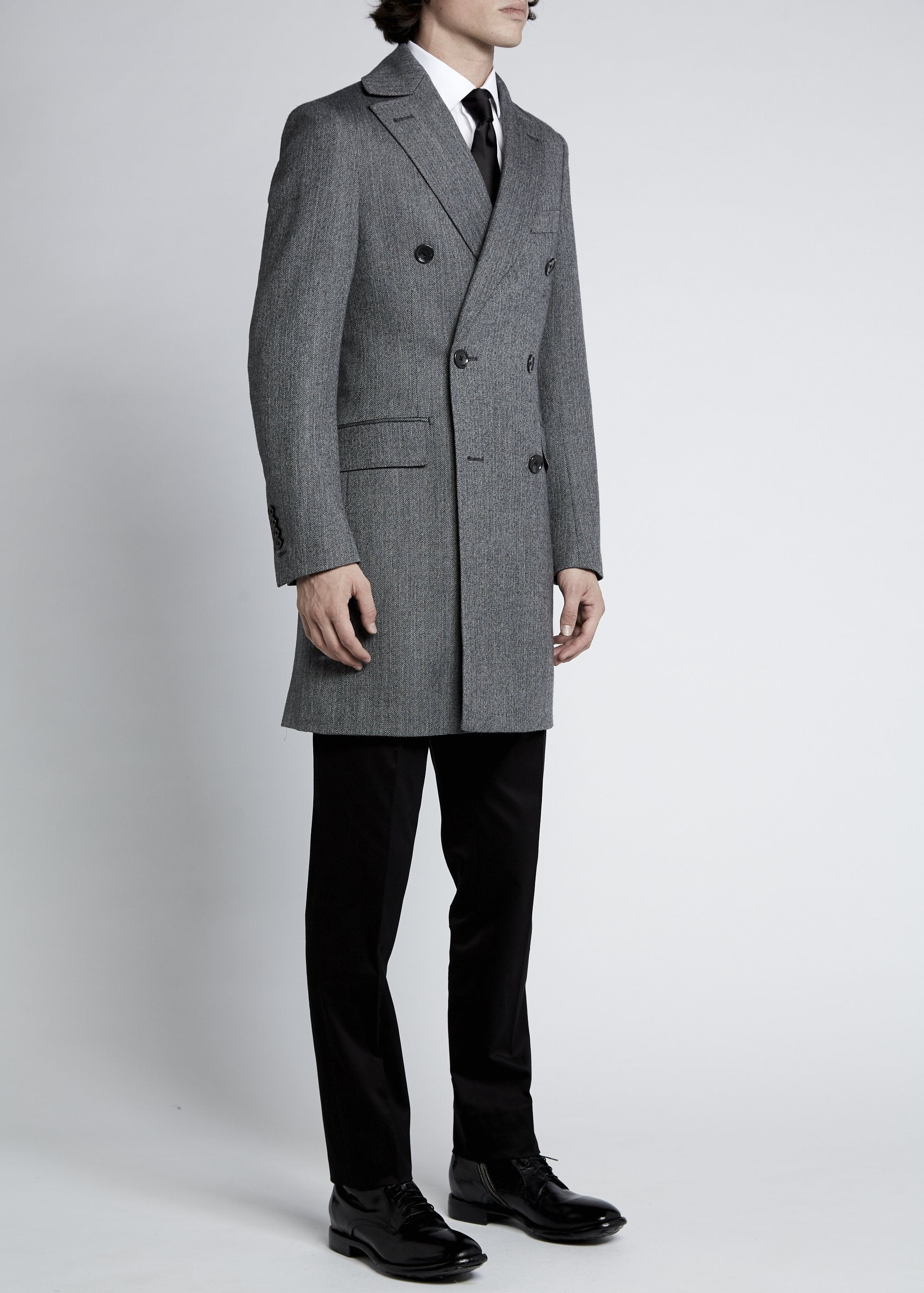 Enzo Coat - Grey Black Herringbone