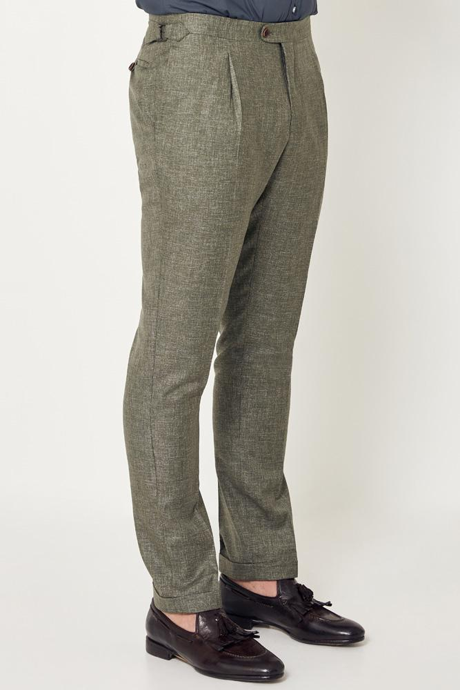 Roma Trouser - Light Olive Distort