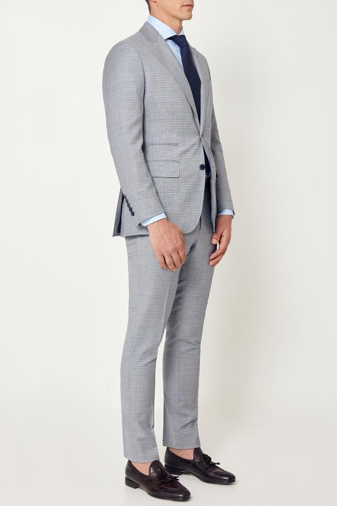 Jonah Suit - Light Blue  White Mini Check