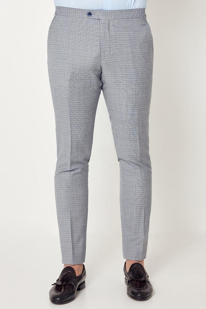 Apollo Trouser - Light Blue White Mini Check