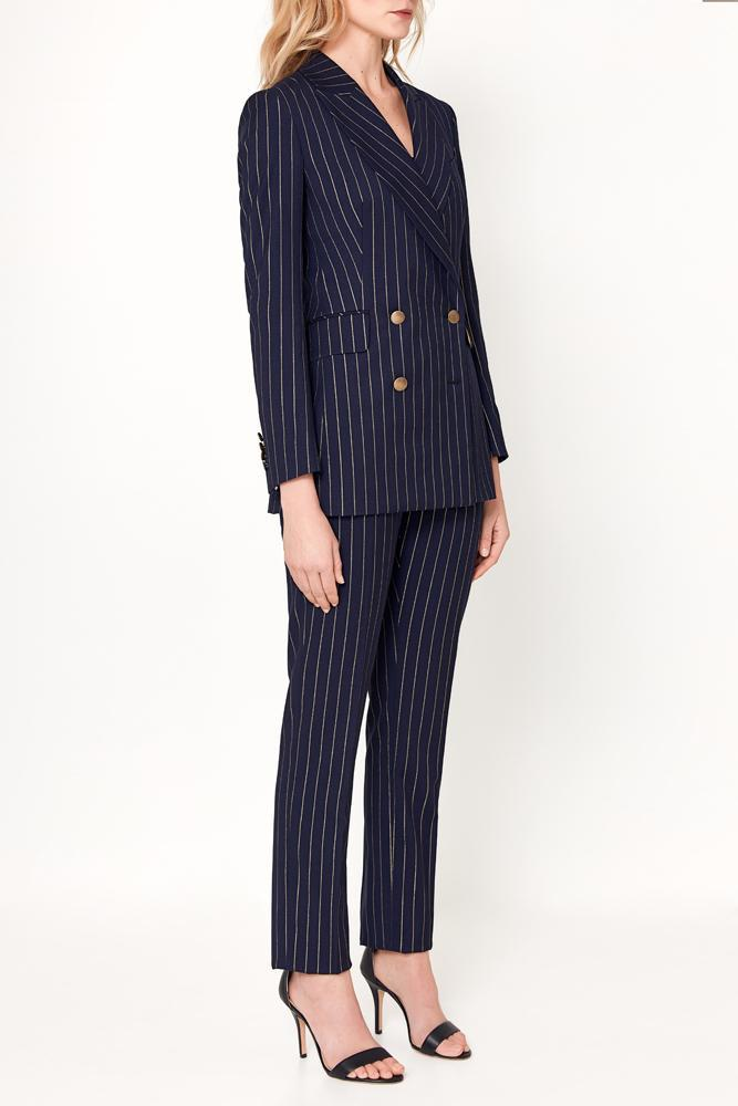 Luna Jacket - Navy With Gold Pin Stripe