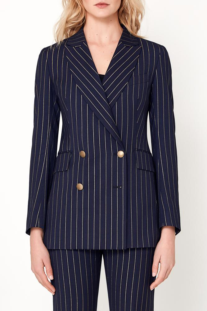Luna Suit - Navy With Gold Pin Stripe