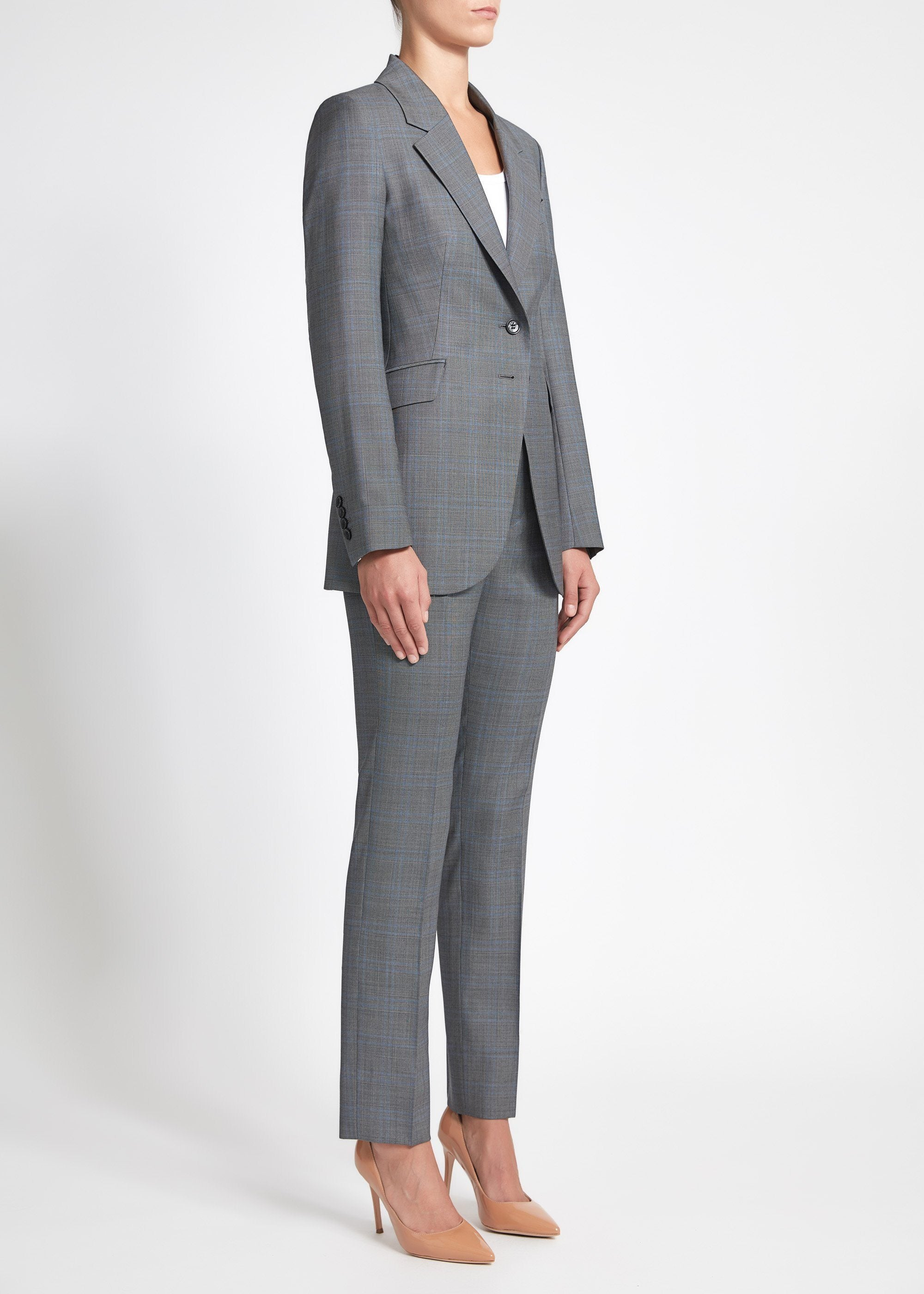 Lucia Suit - Grey Blue Check