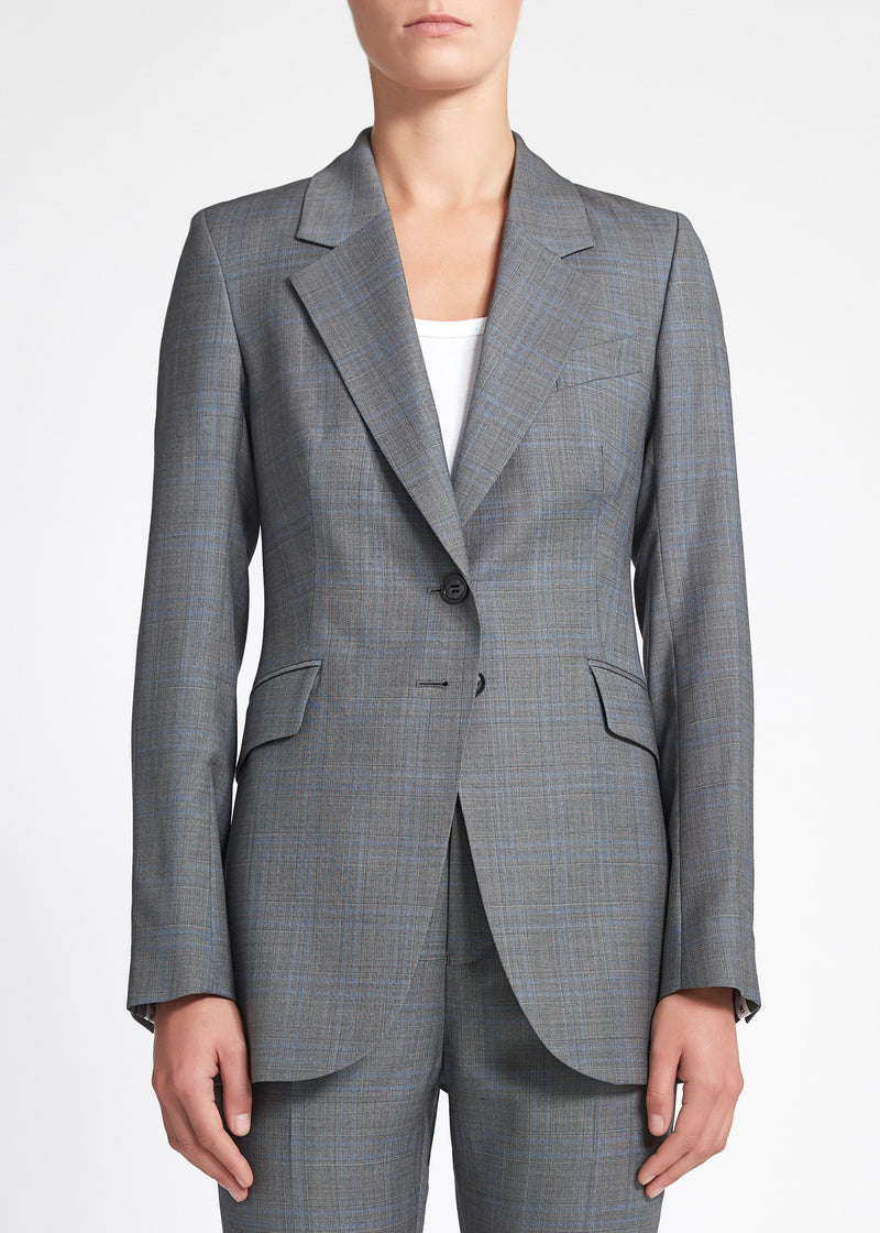 Lucia Jacket - Grey Blue Check