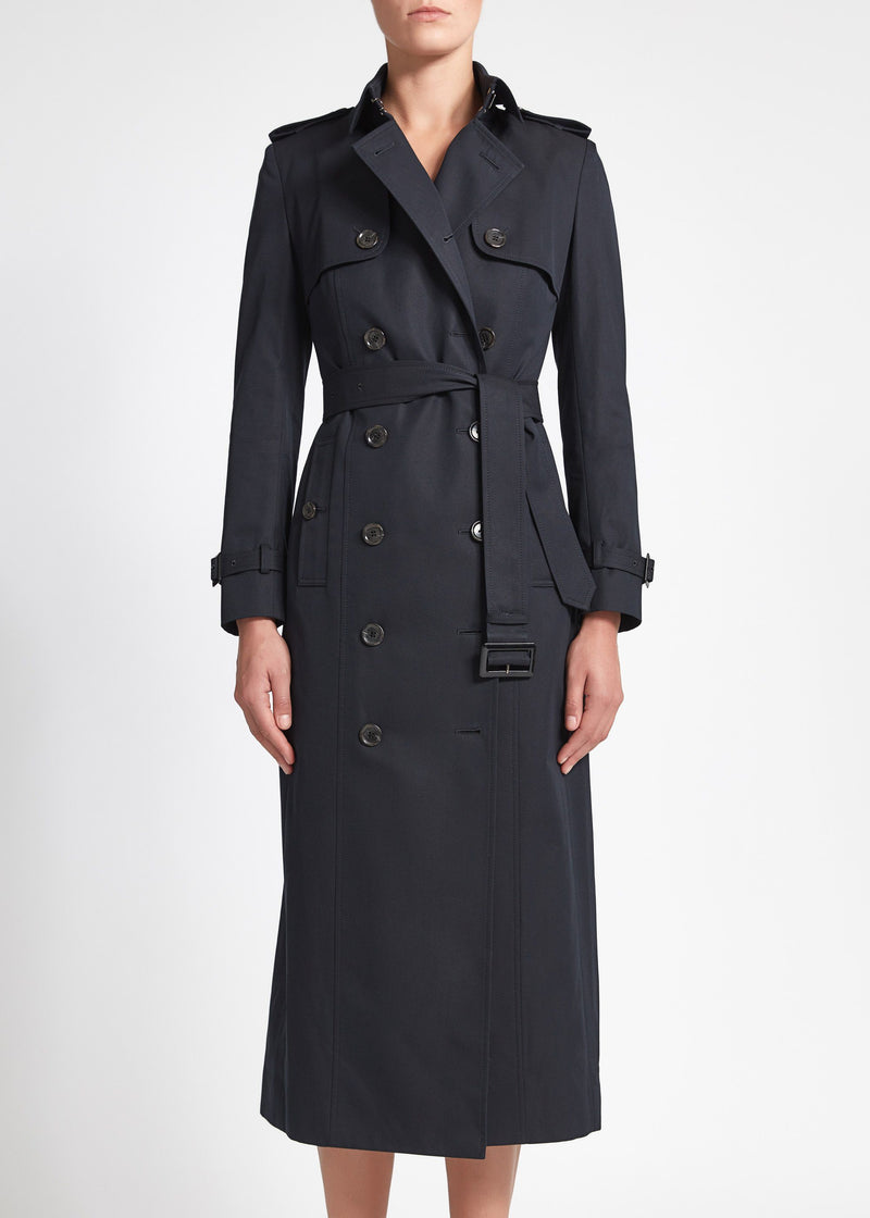 Martina (Long) Trench Coat - Navy Cotton