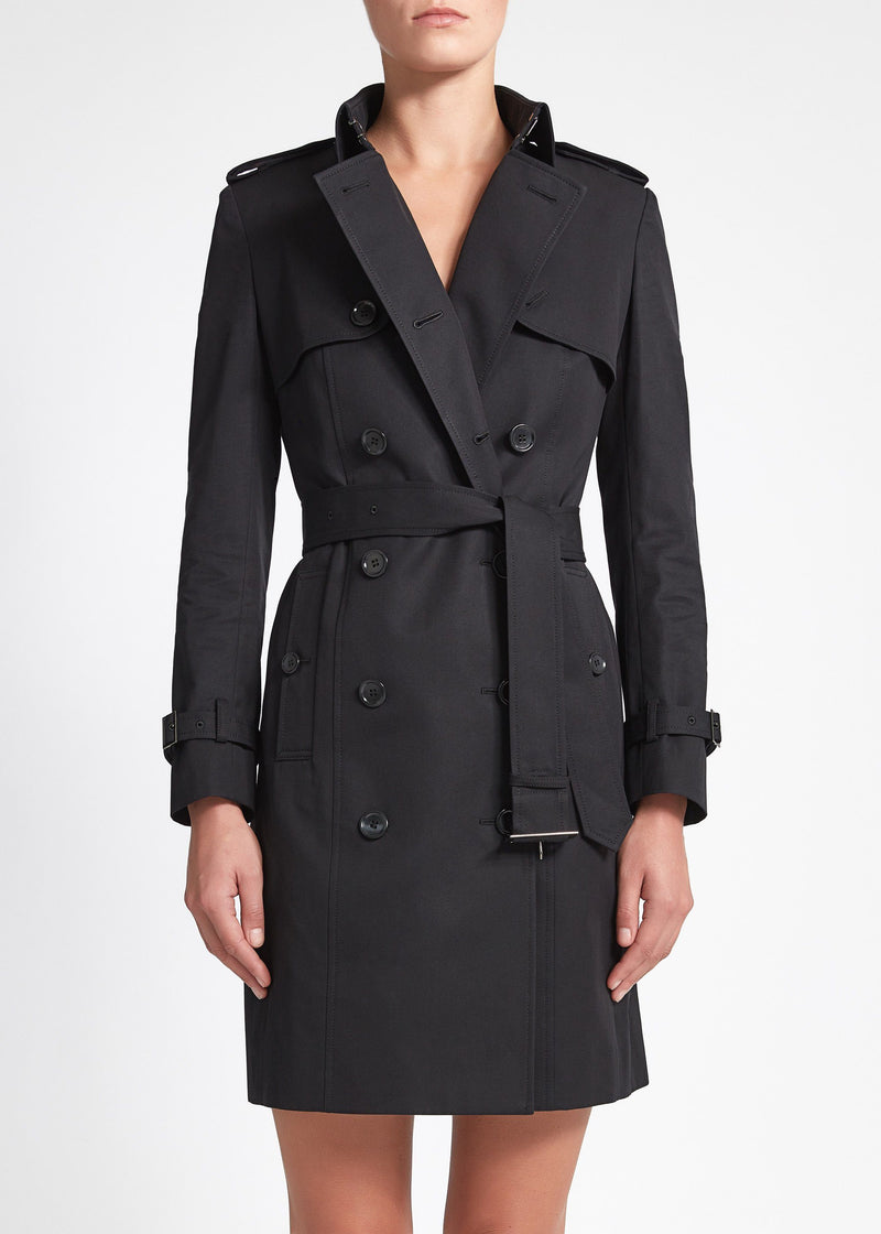 Martina (Mid) Trench Coat - Black Cotton