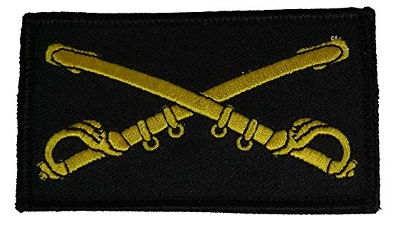 US ARMY CAVALRY BRANCH CROSSED SABERS 2 PIECE PATCH W/ HOOK AND LOOP BACKING