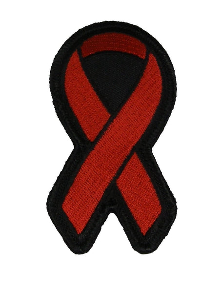 RED RIBBON FOR AIDS SUBSTANCE ABUSE VASCULITIS AWARENESS PATCH - HATNPATCH