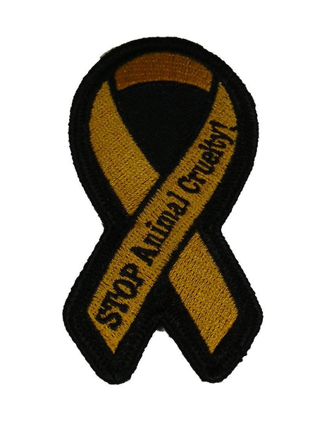 ORANGE RIBBON FOR STOP ANIMAL CRUELTY AWARENESS PATCH - HATNPATCH