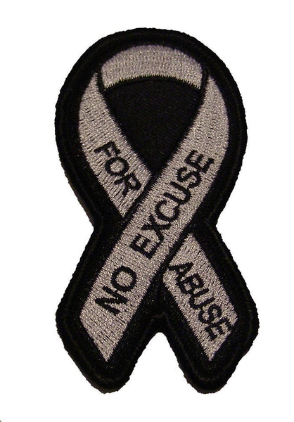 NO EXCUSE FOR ABUSE Domestic Violence AWARENESS Ribbon PATCH