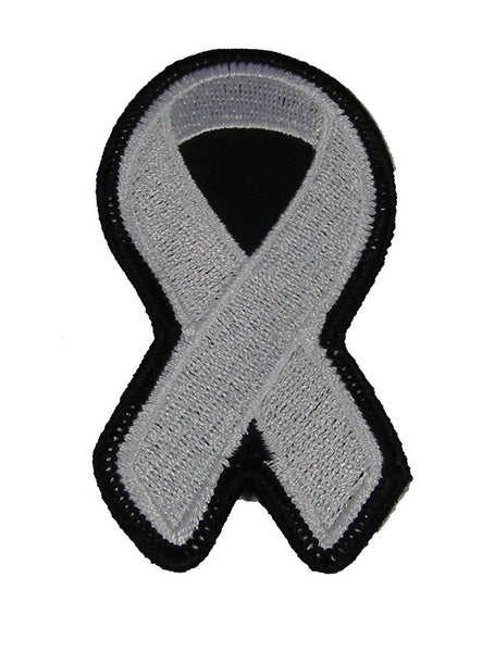 WHITE RIBBON FOR LUNG AND BONE CANCER BLINDNESS AWARENESS PATCH - HATNPATCH