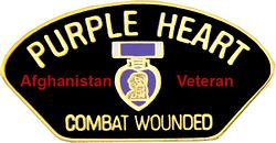 AFGHANISTAN PURPLE HEART COMBAT WOUNDED HAT PIN - HATNPATCH