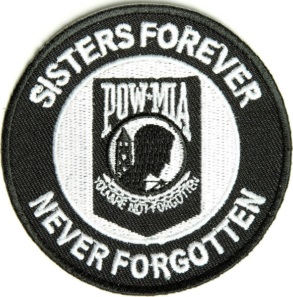 SISTERS FOREVER POW MIA NEVER FORGOTTEN ROUND PATCH