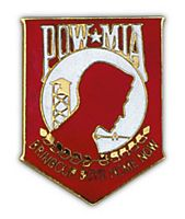 POW/MIA RED-LG HAT PIN