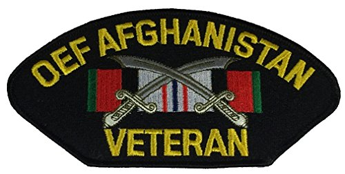 OEF AFGHANISTAN VETERAN W/ RIBBON AND CROSSED SCIMITAR PATCH - Multi-colored - Veteran Owned Business