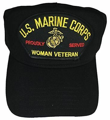 USMC MARINE CORPS WOMAN VETERAN PROUDLY SERVED HAT CAP FEMALE DEVIL DOG EGA