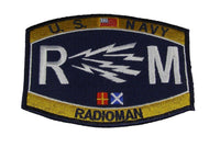 USN NAVY RM RADIOMAN MOS RATING PATCH SAILOR VETERAN