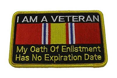 I AM A VETERAN OATH OF ENLISTMENT NO EXPIRATION DATE PATCH W/ NATIONAL DEFENSE