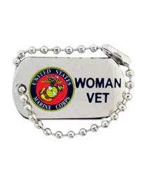 Marine Woman Veteran Dog Tag Pin
