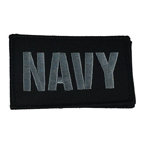 NAVY 2 PIECE PATCH - Black/Silver - Hook and Loop - Veteran Owned Business.