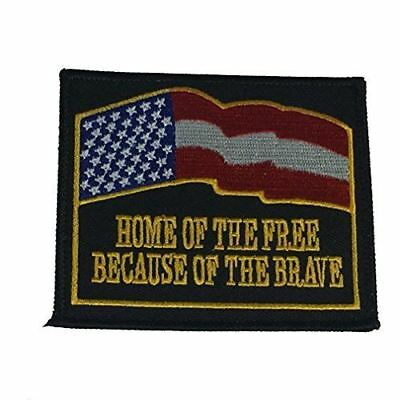 HOME OF THE FREE BECAUSE OF THE BRAVE PATCH FLAG AMERICA USA PATRIOTIC - HATNPATCH