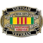 VIETNAM VETERAN BROTHERS FOREVER W/RIBBON - Cast Belt Buckle