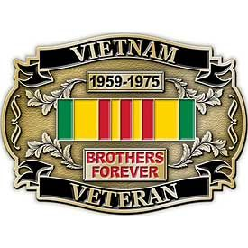 VIETNAM VETERAN BROTHERS FOREVER W/RIBBON - Cast Belt Buckle - HATNPATCH
